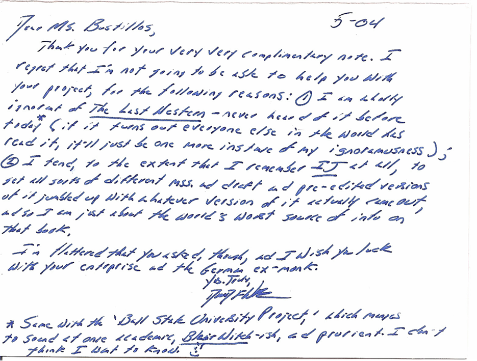 David Foster Wallace Letter  Dfw    David Foster Wallace